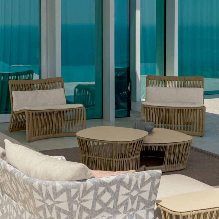Cliff outdoor armchair by Talenti in rope and fabric, Palomba design