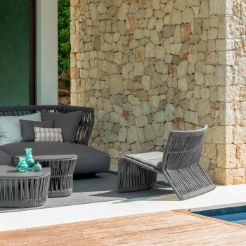 Cliff Talenti outdoor armchair in rope and fabric, design Palomba