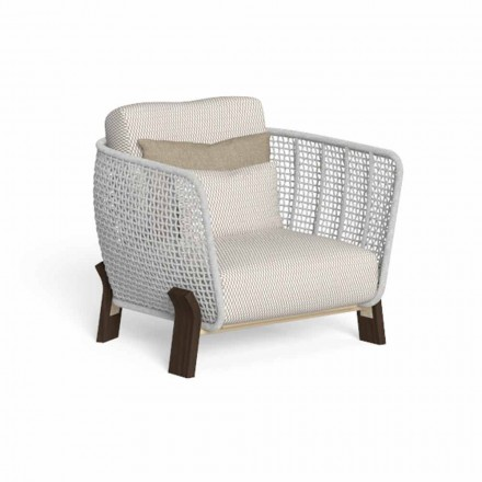 Outdoor Armchair in Rope, Fabric and Precious Wood - Argo by Talenti