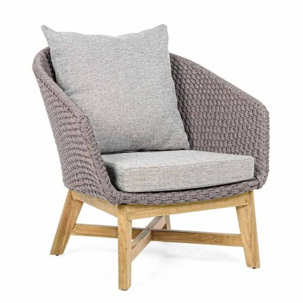 Outdoor Armchair in Woven Rope and Teak Wood, Homemotion - Callum