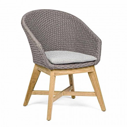 Outdoor Armchair in Wood and Rope with Cushion, Homemotion, 2 Pieces - Oskana
