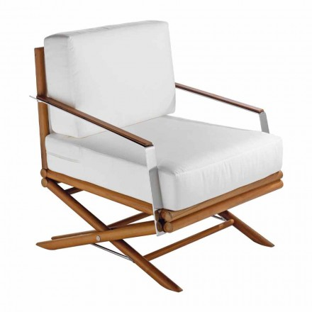 Design Outdoor Armchair in Natural or Black Wood with Cushion - Suzana
