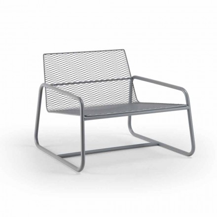 Outdoor Metal Armchair with Luxury Cushion Made in Italy - Karol