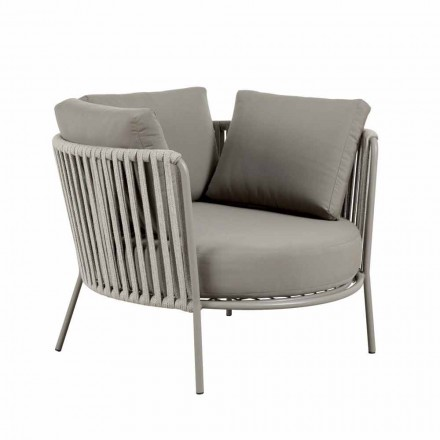 Outdoor Armchair in Metal, Fabric and Modern Rope Made in Italy - Mari