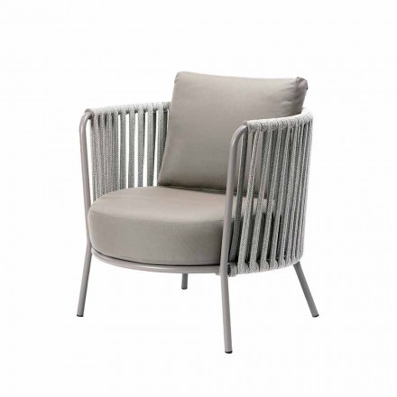 Outdoor Armchair in Painted Metal, Fabric and Rope Made in Italy - Mari