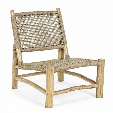 Outdoor Armchair in Teak Branches and Synthetic Fiber, 2 Pieces - Tecno