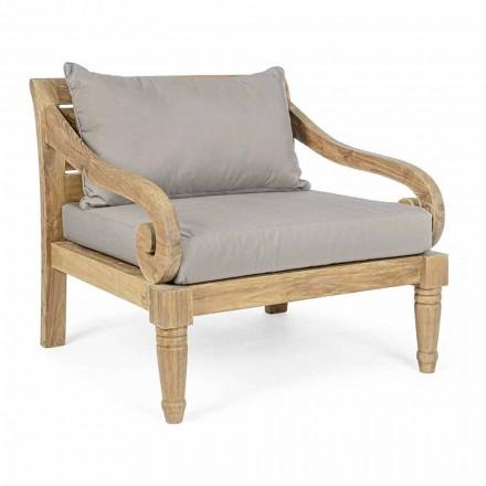 Outdoor Armchair in Teak with Fabric Cushions, Homemotion - Tatyana