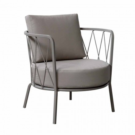 Modern Outdoor Armchair in Painted Metal and Fabric Made in Italy - Olma