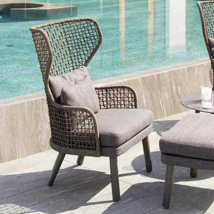 Modern design upholstered outdoor armchair, Emma by Varaschin