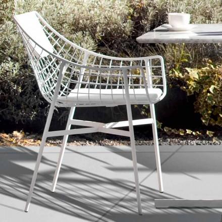 Design outdoor armchair in white steel Summer set by Varaschin