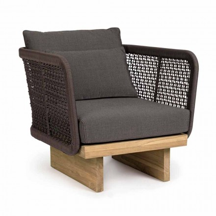 Garden Armchair with Teak Base and Rope Backrest, Homemotion - Chantall