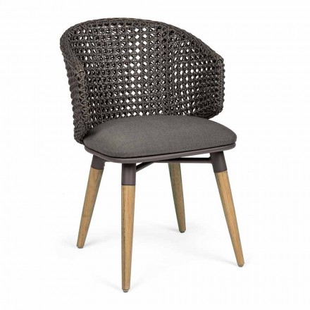Garden Armchair with Teak Legs and Fabric Seat, Homemotion - Chantall