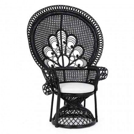Luxury Design Garden Armchair for Outdoor in Black Rattan - Serafino