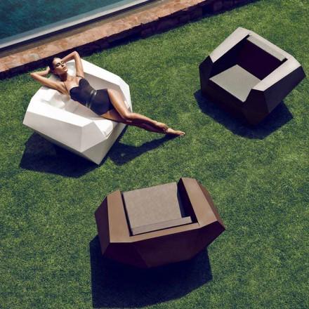 Modern design outdoor armchair, in polyethylene, Faz by Vondom