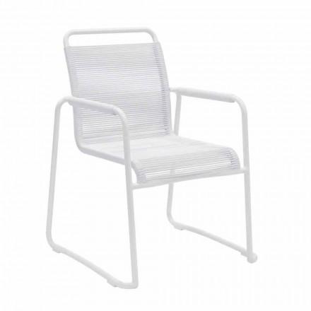 Garden Chair in White Aluminum Modern Design Stackable - Wisky