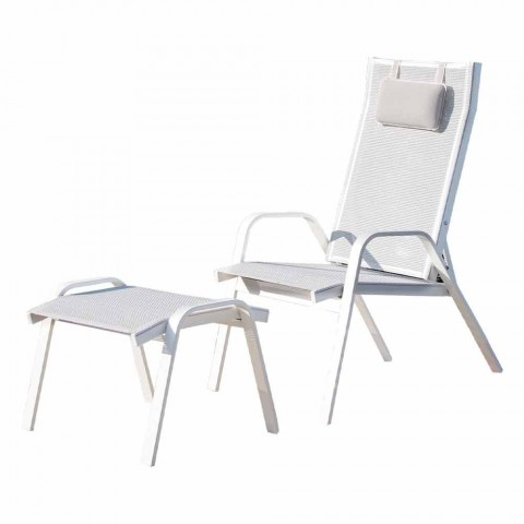 Aluminum Garden Armchair with Footrest Made in Italy - Camillo