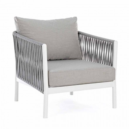 Garden Armchair in Aluminum, Synthetic Fiber and Homemotion Fabric - Rubio
