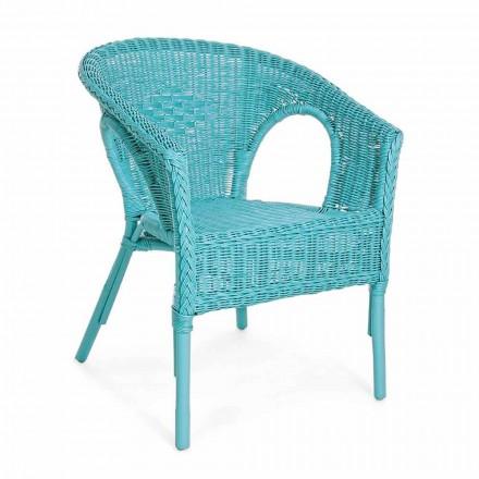 Stackable Design Garden Armchair in White, Blue or Green Rattan - Favolizia