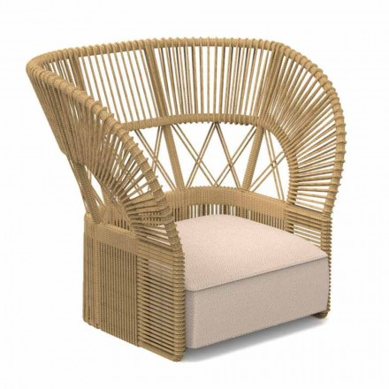Modern Garden Armchair Padded with Rope and Fabric - Cliff Decò Talenti