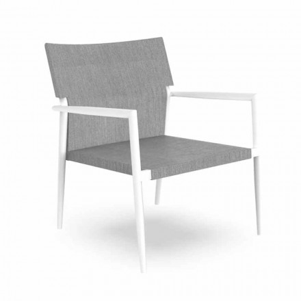 Modern Garden Armchair in Aluminum and Gray Textilene - Adam by Talenti