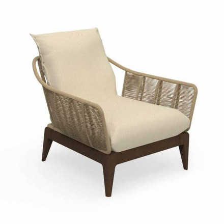 Modern Garden Armchair in Teak Wood and Fabric - Cruise Teak by Talenti