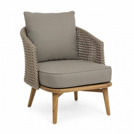 Tortora Garden Armchair in Aluminum, Wood and Homemotion Fabric - Luana