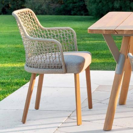 Modern garden armchair in solid iroko wood, Emma by Varaschin