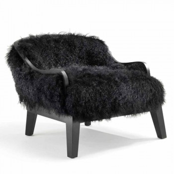 Low armchair in black leather and fur, made in Italy, Eli