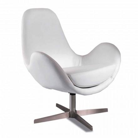 Upholstered and Swivel Leatherette Living Room Armchair, Modern Design - Gajarda