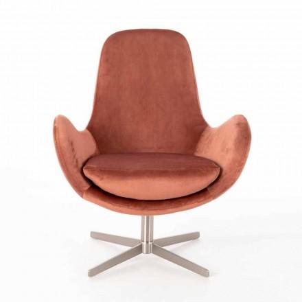 Modern Design Padded Swivel Lounge Armchair in Velvet - Gajarda