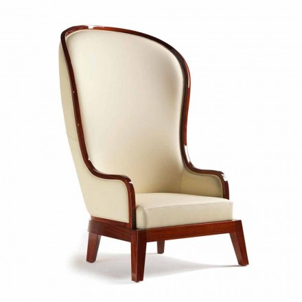 Classic leather armchair Eli, with laser decorations, made in Italy