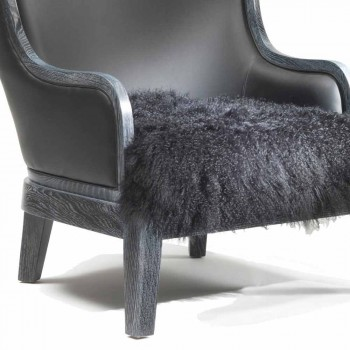 Eli leather armchair and black fur, classic luxury design