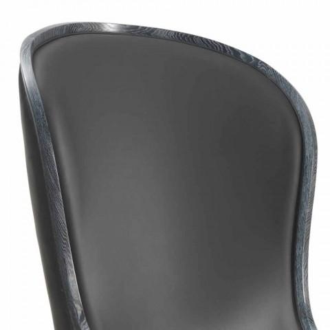 Eli leather armchair and black fur, classic luxury design