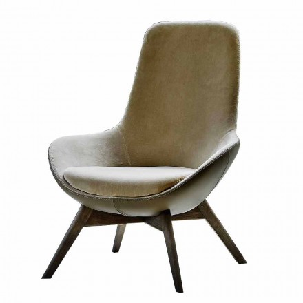 Living Room Armchair in Leather and Fabric with Wooden Base Made in Italy - Ama