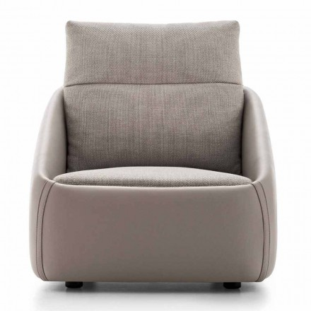 Living Room Armchair in High Quality Leather and Fabric Made in Italy - Amarena