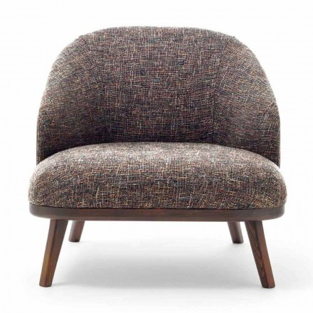 Fabric Lounge Chair with Solid Wood Base Made in Italy - Pepina