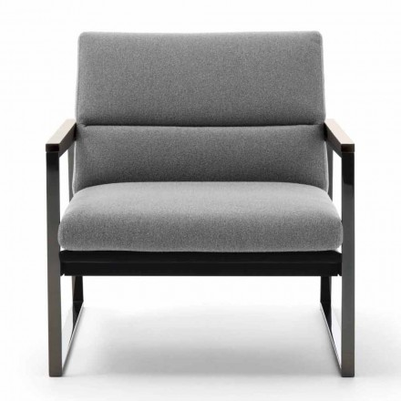 Living Room Armchair in Fabric, Leather and Precious Metal Made in Italy - Milla