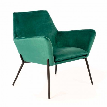 Modern Lounge Chair in Petrol Green Velvet and Black Metal - Toned