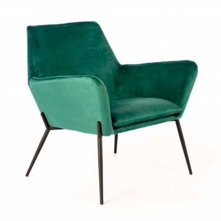 Modern Lounge Chair in Petrol Green Velvet and Black Metal - Toned