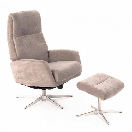Reclining Lounge Armchair with Footrest Upholstered in Velvet - Angelina