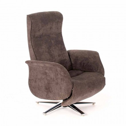 Modern Reclining Lounge Armchair in Gray or Beige - Zoey Fabric