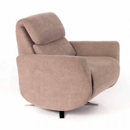 Modern Reclining Lounge Armchair in Gray or Beige Fabric - Curb