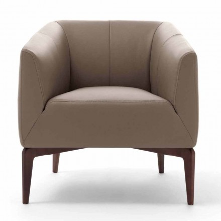 Living Room Armchair Upholstered in Leather with Wooden Legs Made in Italy - Maira
