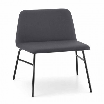 High Quality Living Room Armchair in Fabric and Metal Made in Italy - Molde