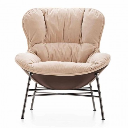 Living Room Armchair in Leather and Fabric with Chromed Base Made in Italy - Litchi