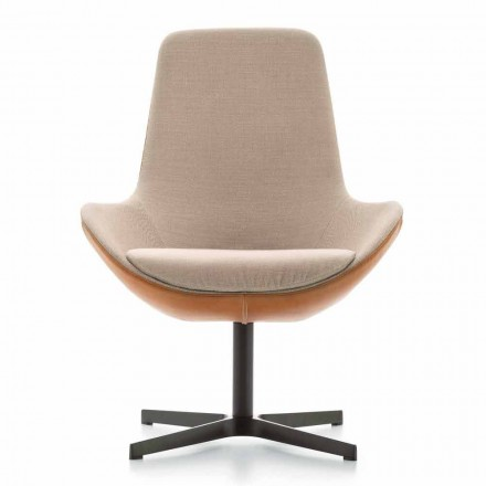Living Room Armchair in Leather and Fabric with Swivel Base Made in Italy - Ama