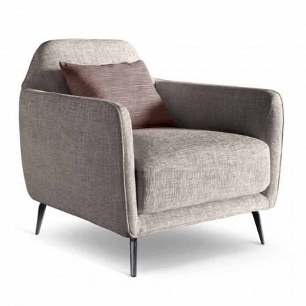 Living Room Armchair in Fabric with Metal Feet Made in Italy - Cherry