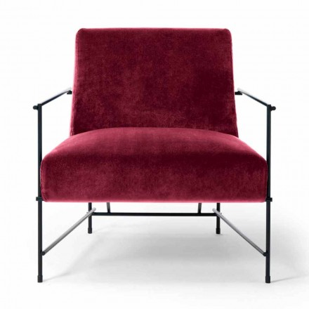 Fabric Living Room Armchair with Metal Structure Made in Italy - Manila