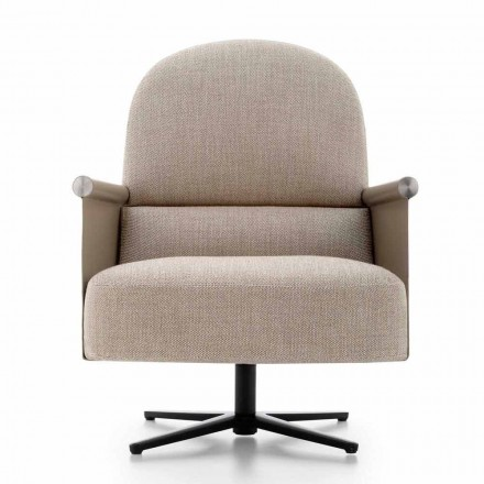 Living Room Armchair in Fabric, Leather and Metal Made in Italy - Camomilla