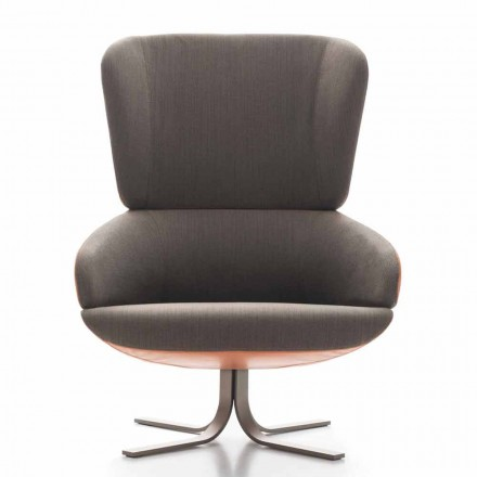 Living Room Armchair in Fabric and Leather with Swivel Base Made in Italy - Liana